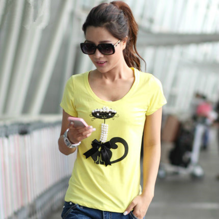 Quick delivery  ladies T shirt sewing women s short sleeve T shirt cute  nice T shirt ... 2567815ef
