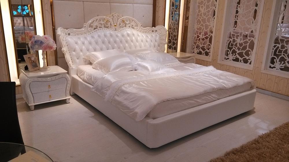 (1800×2000mm以下マットレス対応)彫刻付高級ベッド(マットレスなし)