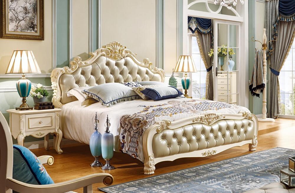 彫刻付高級ベッド(マットレスなし)