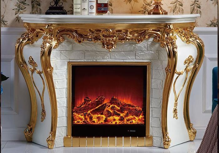 輸入家具・オーダー家具・プリンセス家具・ホワイト・ゴールド・電気装飾マントルピース