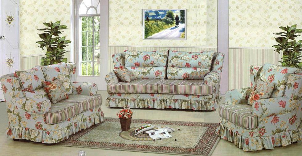 【輸入家具】布製ソファー(クッション付き3点セット)jz-801