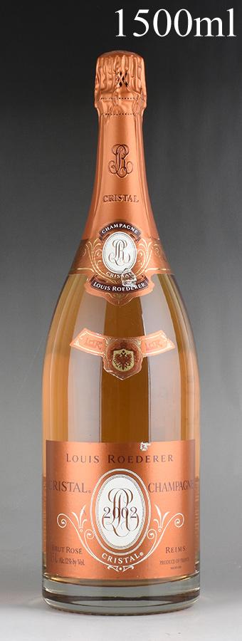 [2002] ルイ・ロデレール クリスタル ロゼ マグナム 1500ml 【箱なし】 ※ラベル破れフランス / シャンパーニュ / 発泡系・シャンパン