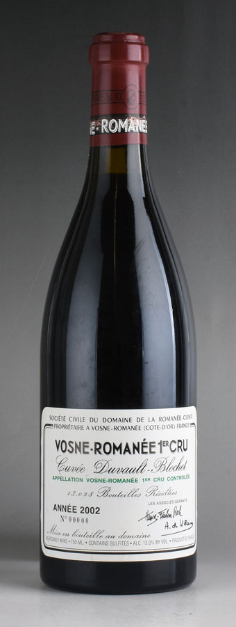 [2002] ドメーヌ・ド・ラ・ロマネ・コンティ DRC ヴォーヌ・ロマネ・プルミエ・クリュ キュヴェ・デュヴォー・ブロシェ ※キャップシールに擦れありフランス / ブルゴーニュ / 赤ワイン