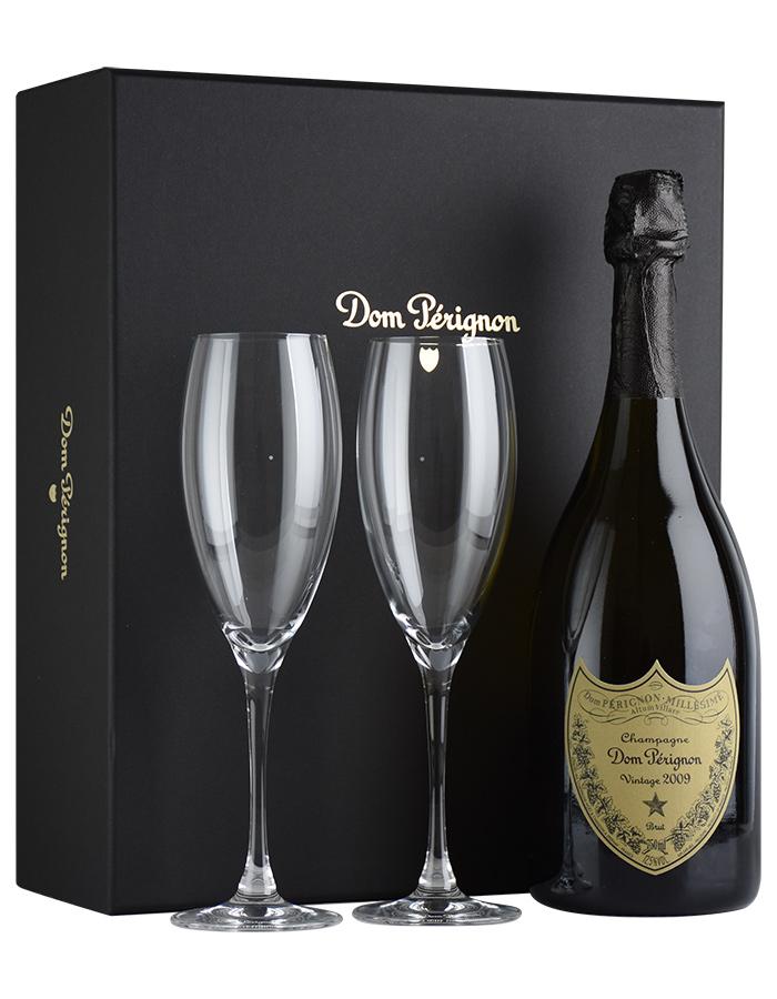 [2009] ドン・ペリニヨン ヴィンテージ 【正規品】 ギフト箱入り ロゴ入りフルートグラス2脚セットフランス / シャンパーニュ / 発泡系・シャンパン