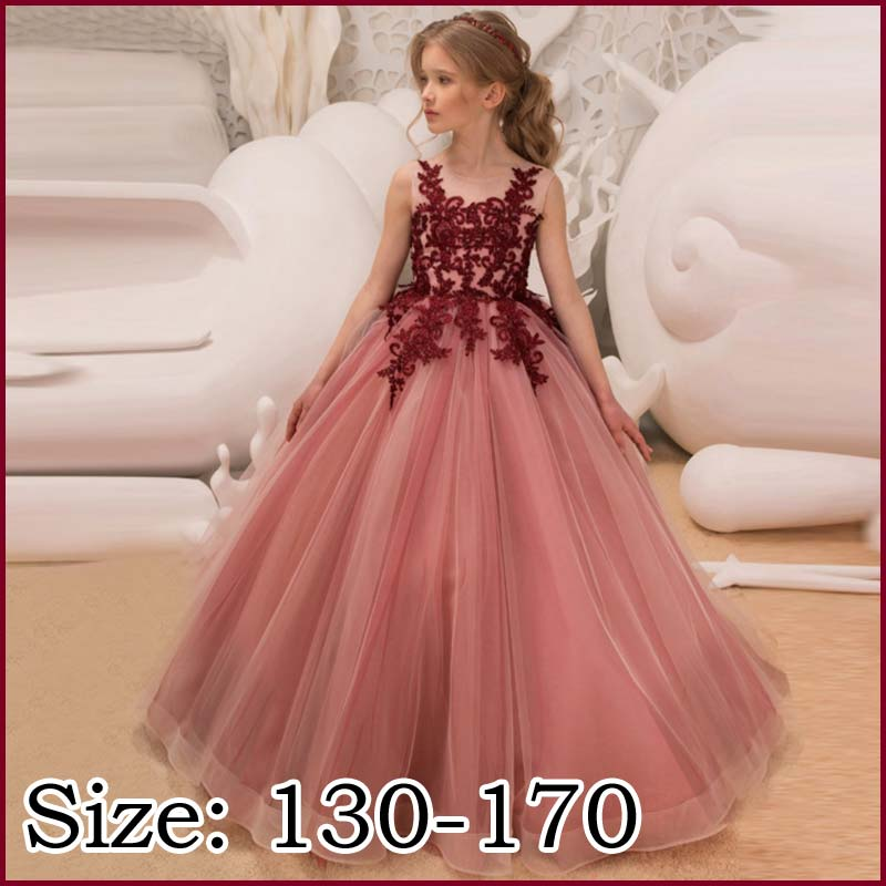 b111c46cd1c91 Child dress red no sleeve embroidery long dress flower girl  Seven-Five-Three Festival Tulle skirt event party dress wedding ceremony  presentation ...