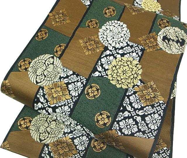 袋帯 仕立て上がり 新品 正絹 フォーマル 閑庭更華文様 袋帯 深緑 現品限り d500r