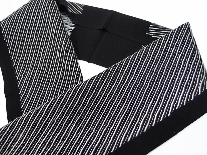 半衿 手刺繍 正絹 塩瀬 振袖 日本製 斜縞 成人式 結婚式 長尺 フォーマル 美品 黒 k901