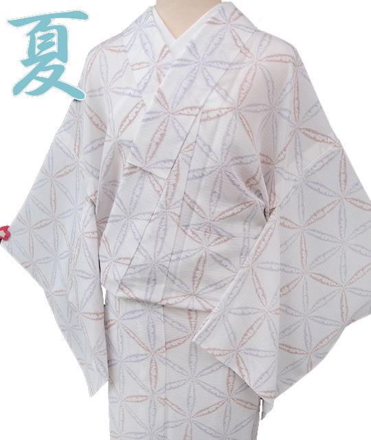 小紋 正絹 仕立て上がり 夏物 京友禅 シンプル絞り風麻の葉絽新品 白 薄紫 レンガ色 麻の葉 カジュアル a102r