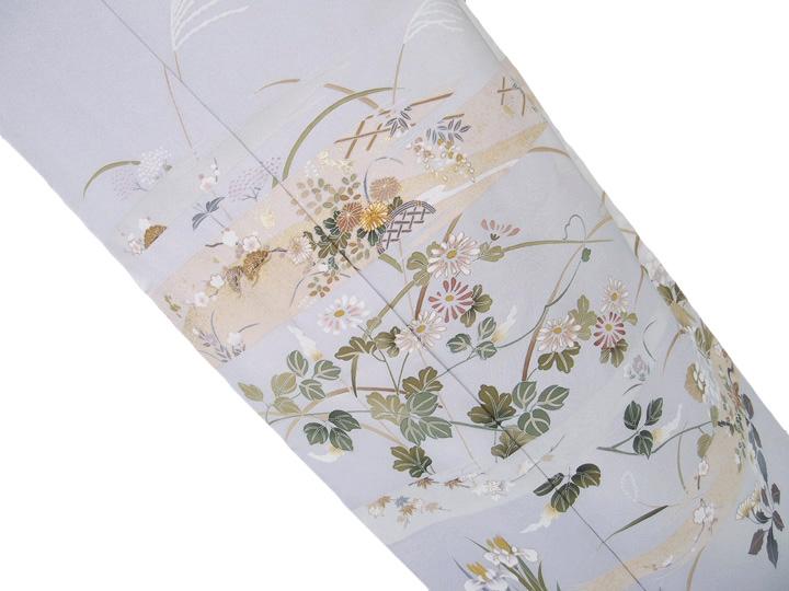 訪問着 未仕立て 風情のある草花文様 訪問着 グレー 水色 d002r