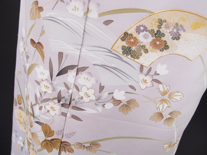 訪問着 正絹 未仕立て 新品 古典 淡い紫 現品限り d005r