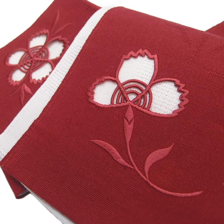 夏 半幅帯 麻 小袋帯 日本製 ドロンワーク 刺繍 撫子 仕立て上がり カジュアル 浴衣 夏着物 赤 b409