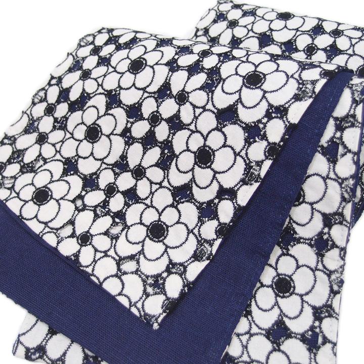 夏 半幅帯 麻 綿麻 小袋帯 日本製 木綿 レース リバーシブル 花 仕立て上がり カジュアル 浴衣 夏着物 白 黒 藍 d609