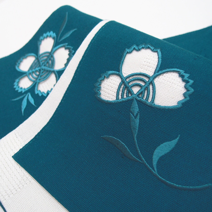 夏帯 半幅帯 麻 小袋帯 日本製 ドロンワーク 刺繍 撫子 仕立て上がり カジュアル 浴衣 夏着物 青 b413
