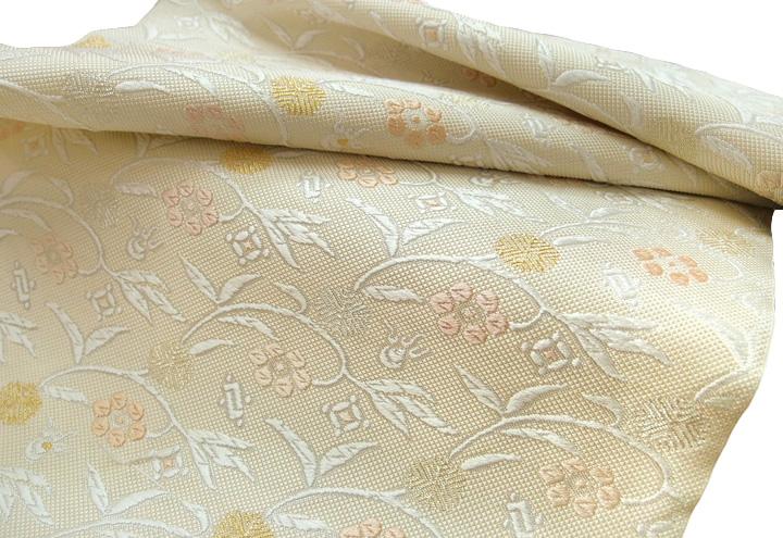 西陣ふくい 九寸名古屋帯 未仕立て 反物 正絹 笹蔓文様 清楚なクリーム色 現品限り e415r