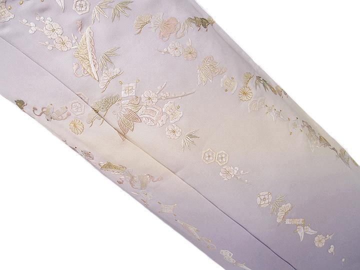 訪問着 手刺繍 正絹 豪華 宝尽くし フォーマル 結婚式 入学式 卒業式 入園式 卒園式 未仕立て 紫 rm b232 d119