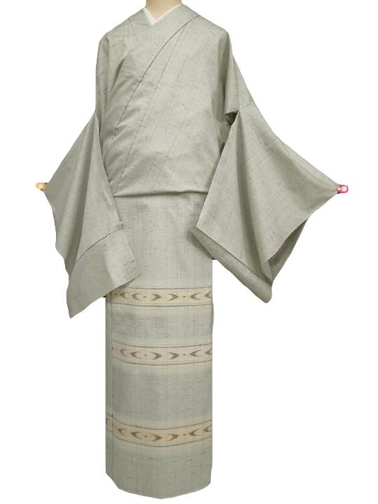 訪問着 正絹 未仕立て 渡源織物ぜんまい紬訪問着/単衣にも 老竹色系 新品 c020r