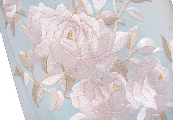 【スーパーSale 20%off】訪問着 手刺繍 正絹 豪華 洋花 薔薇 フォーマル 結婚式 入学式 卒業式 入園式 卒園式 未仕立て 水色 rm b197 d120