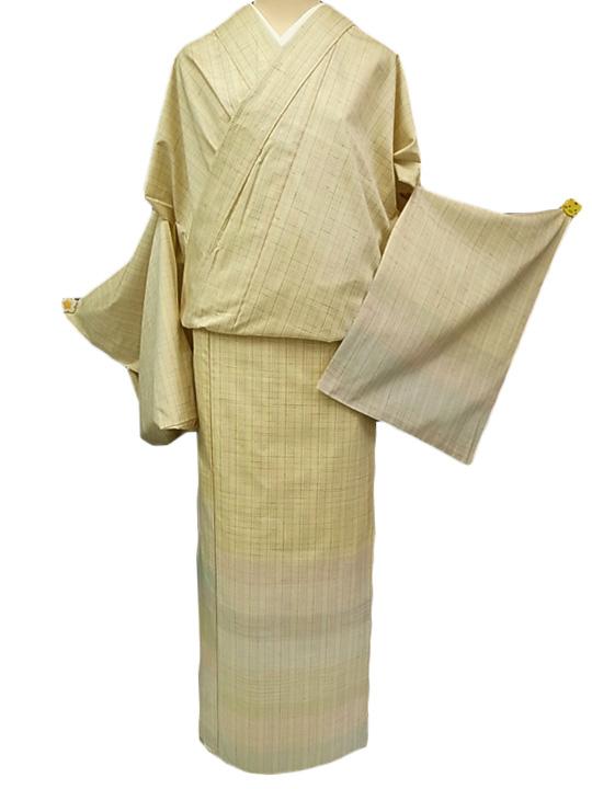 訪問着 正絹 未仕立て 渡源織物米沢紬訪問着 クリーム色 藤色 空色 新品 c148r