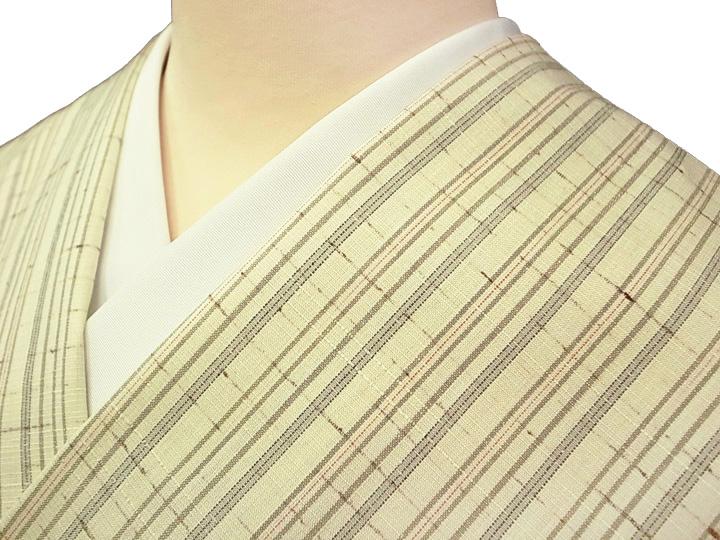 米沢紬 ぜんまい織 紅花の里工房 未仕立て 正絹 新品 美品 反物 カジュアル 淡いクリーム色 縞 現品限り f126r