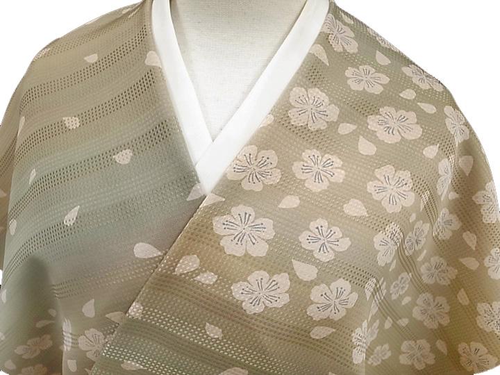 着物 羽織 コート 反物 正絹 未仕立て伝統工芸京友禅 さくら段暈し反物 モカ系 新品 c228r