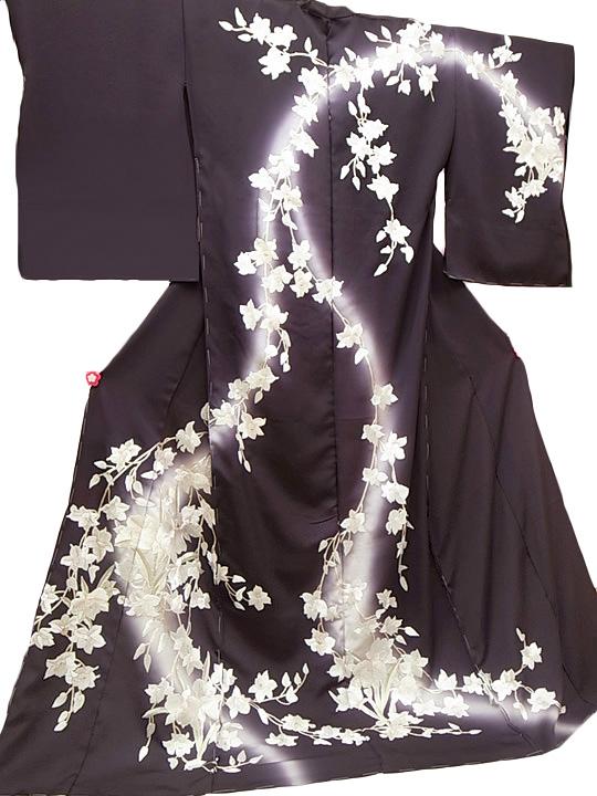 訪問着 手刺繍 正絹 豪華 木蓮 フォーマル 結婚式 入学式 卒業式 入園式 卒園式 未仕立て 紫 rm b110 d129