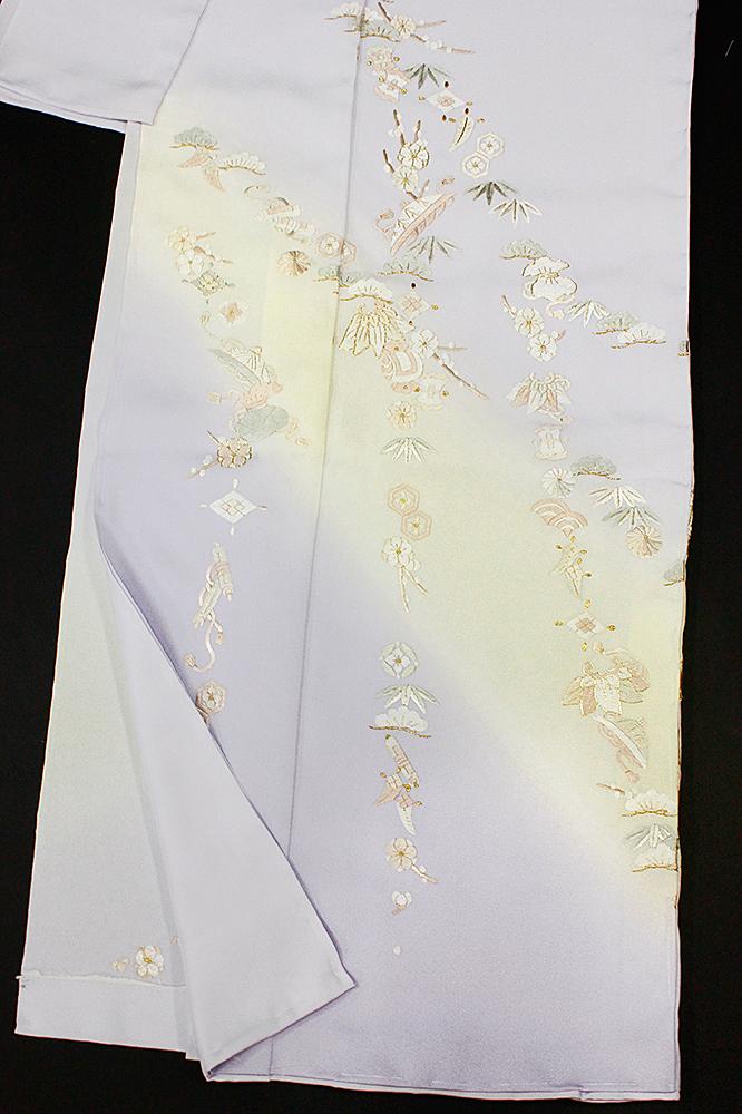 訪問着 手刺繍 正絹 豪華 フォーマル 宝尽くし 薄紫 結婚式 入学式 卒業式 入園式 卒園式 未仕立て f132