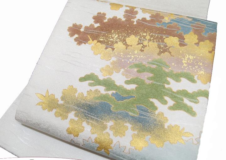 袋帯 引箔 秋草 箔散らし フォーマル 正絹 上品 青磁色 新古品 現品限り c636r