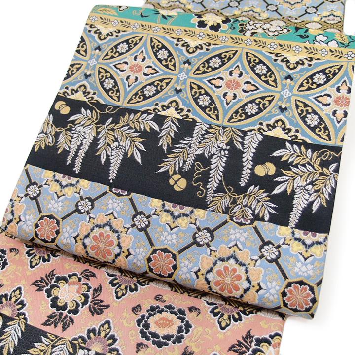 袋帯 美しいキモノ掲載 正絹 西陣織 日本製 未仕立て フォーマル 結婚式 入学式 卒業式 横段 有職文様 グレー 水色 ピンク 緑 c437r