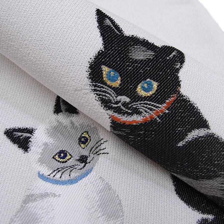 訳あり 正絹 新品 カジュアル 新品 可愛い ネコ 未仕立て 袋帯 ライトグレー c438r