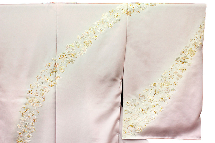 訪問着 手刺繍 正絹 豪華 フォーマル 宝尽くし 桜色 結婚式 入学式 卒業式 入園式 卒園式 未仕立て f138