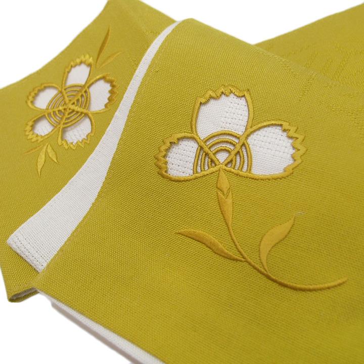 夏 半幅帯 麻 小袋帯 日本製 ドロンワーク 刺繍 撫子 仕立て上がり カジュアル 浴衣 夏着物 黄色 b541