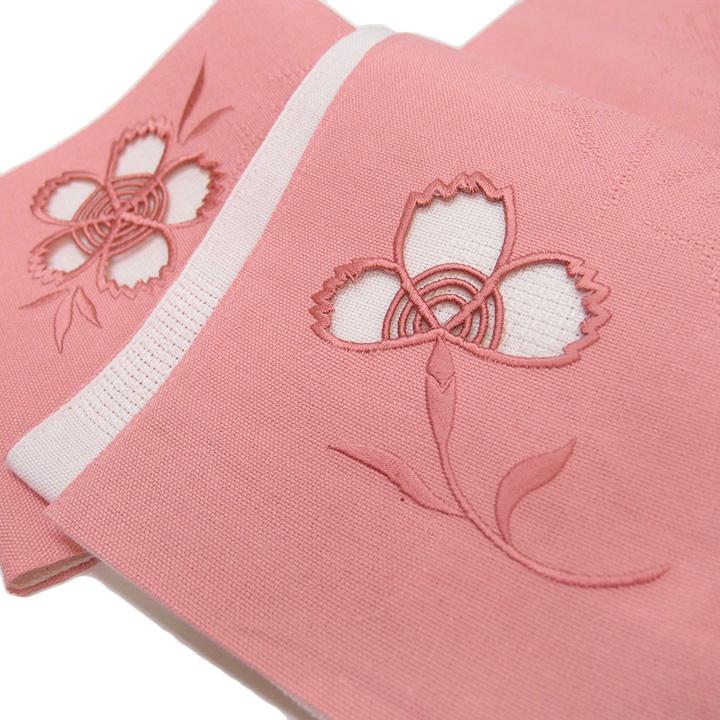 夏 半幅帯 麻 小袋帯 日本製 ドロンワーク 刺繍 撫子 仕立て上がり カジュアル 浴衣 夏着物 ピンク b542
