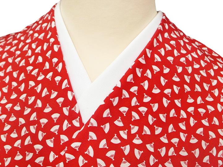 長襦袢 反物 正絹 赤 緋赤 扇 扇面 踊り衣装 未仕立て 新品 f042