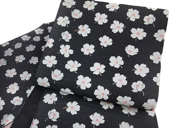 弥栄織物 袋帯 正絹 西陣織 新品 未仕立て 柿渋織 小花袋帯 単衣にも 黒 c444r