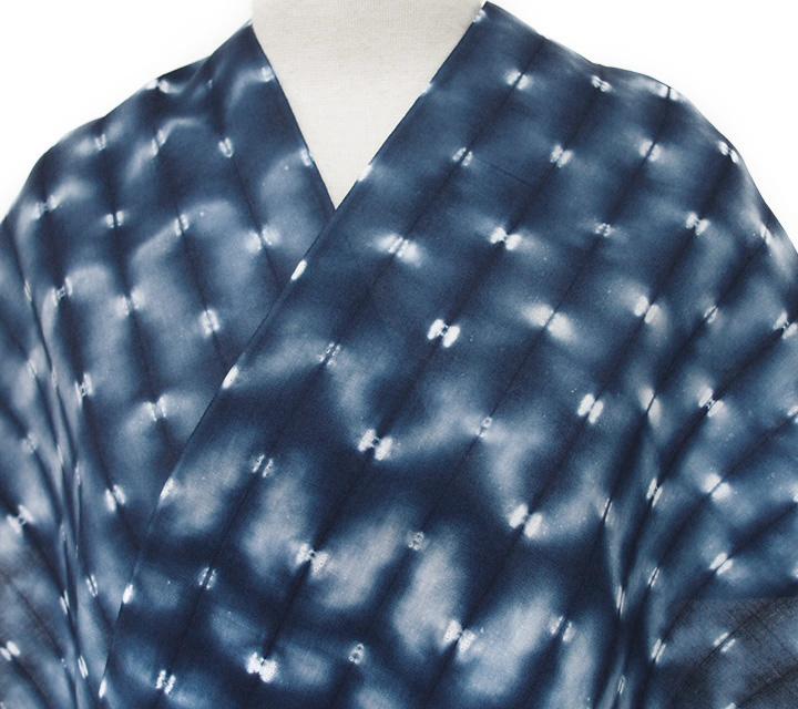 浴衣 有松鳴海絞り 反物 未仕立て 夏きもの 花火大会 お祭り 夏のお出かけに 裄70以上 幾何学 藍 d344