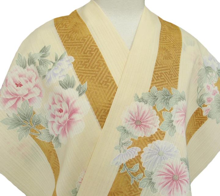 小紋 反物 東レ セオα 夏きもの 洗える着物 日本製 大正ロマン カジュアル 浴衣 レディース 未仕立て 裄70cm以上 縞 花の丸 クリーム g046