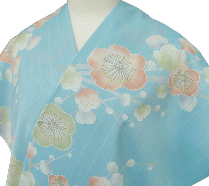 小紋 反物 東レ セオα 夏きもの 洗える着物 日本製 大正ロマン カジュアル 浴衣 レディース 未仕立て 裄70cm以上 梅 水色 g047