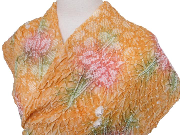 浴衣 仕立て付き 有松鳴海絞り 総絞り レディース 新品 反物 菖蒲 上品で少しおちついた橙色 現品限り d348r