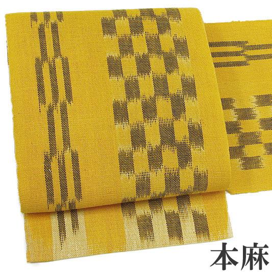 名古屋帯 夏 仕立て上がり 本麻 絣 先染め 縞 市松 からし色 こげ茶 八寸帯 カジュアル b451