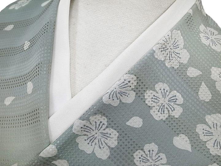 着物 羽織 コート 反物 正絹 未仕立て伝統工芸京友禅 さくら段暈し反物 青磁色 新品 c252r
