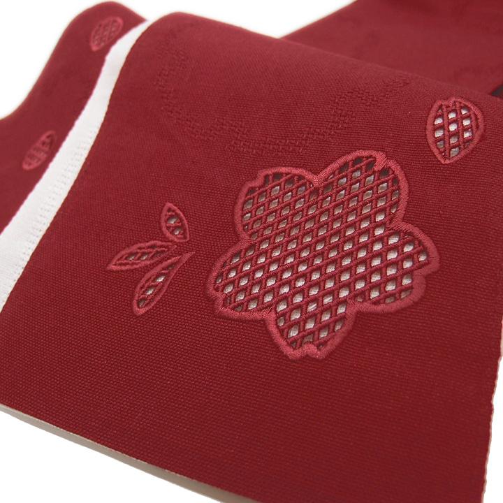 夏 半幅帯 麻 小袋帯 日本製 ドロンワーク 刺繍 桜 仕立て上がり カジュアル 浴衣 夏着物 赤 b564