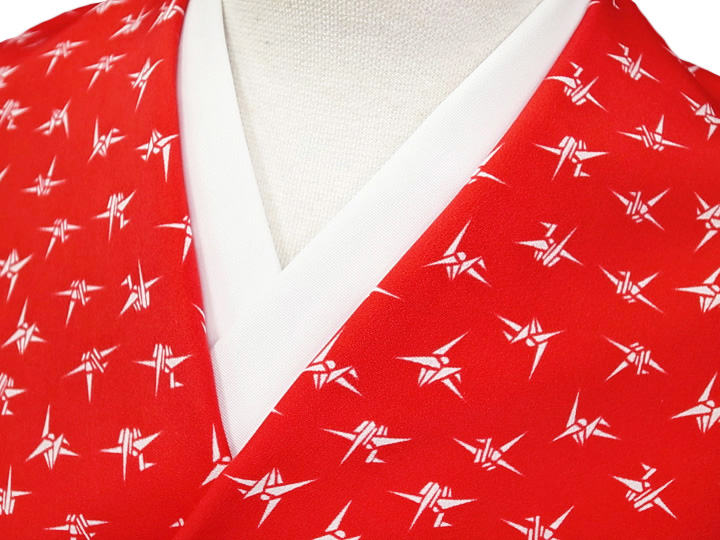 長襦袢 反物 正絹 赤 緋赤 折り鶴 踊り 衣装 未仕立て 新品 a067