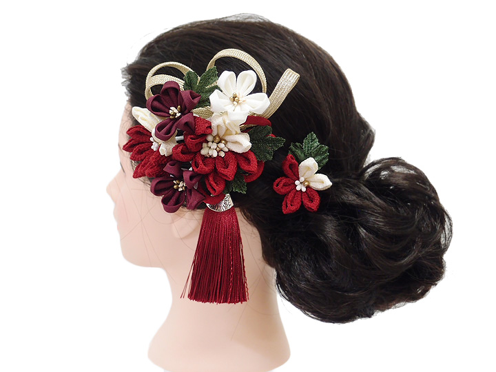 髪飾り 成人式 振袖 袴 2点セット 臙脂 大人 浴衣 かんざし 簪 卒業式 フォーマル 結婚式 花飾り つまみ細工 ちりめん W75 W304 333 髪飾り 臙脂 m970 WSiqzMGUpSV