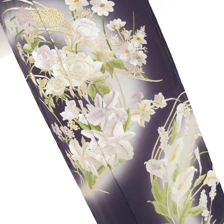 訪問着 手刺繍 正絹 豪華 フォーマル 結婚式 入学式 卒業式 入園式 卒園式 未仕立て 洋花 紫 a371