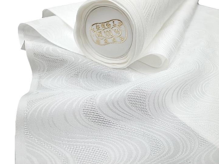 夏 長襦袢 白地 夏 単衣兼用 未仕立て 正絹 紋紗 小松ちりめん 流水 反物 フォーマル カジュアル 白 f172r