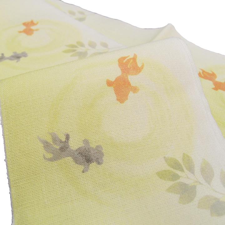 夏 半幅帯 麻 金魚 小袋帯 日本製 染帯 仕立て上がり カジュアル 浴衣 夏着物 黄色 d474