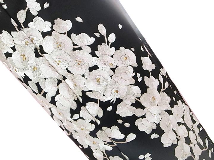 訪問着 手刺繍 正絹 豪華 桜 胡蝶蘭 フォーマル 結婚式 入学式 卒業式 入園式 卒園式 未仕立て 黒 e378