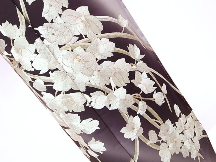 訪問着 手刺繍 正絹 豪華 カトレア フォーマル 結婚式 入学式 卒業式 入園式 卒園式 未仕立て 紫 藤色 K2233 e379