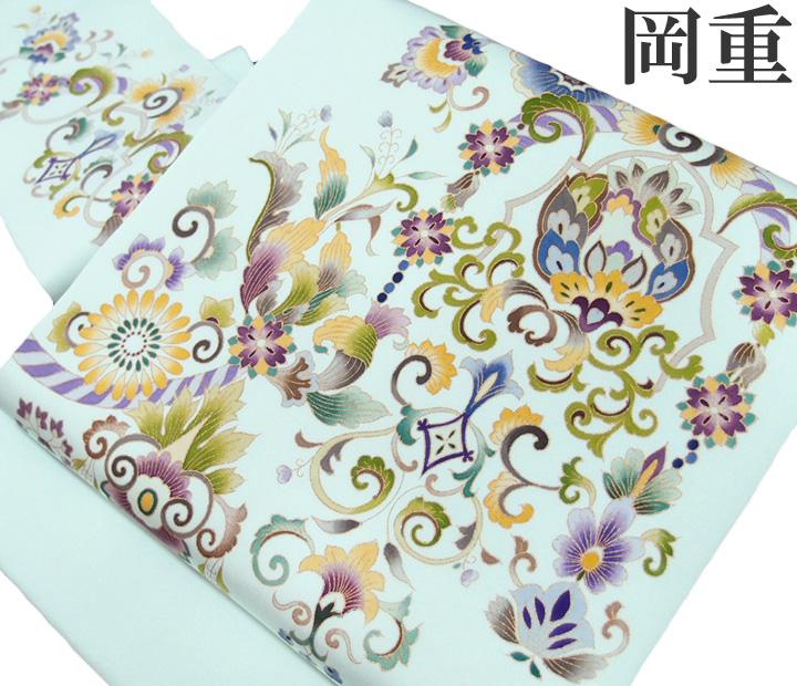 名古屋帯 老舗 岡重 仕立て上がり 正絹 染帯 九寸帯 カジュアル 更紗文様 金彩 青磁色 c482