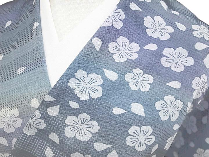 着物 羽織 コート 反物 正絹 未仕立て 正絹 伝統工芸京友禅 さくら段暈し着物反物 浅葱色 ブルーグレー 新品 c283r